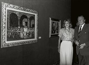 Los barones Thyssen en la inauguración de la exposición Espressionismo. Capolavori della Collezione Thyssen-Bornemisza en Villa Favorita, Lugano, 1989