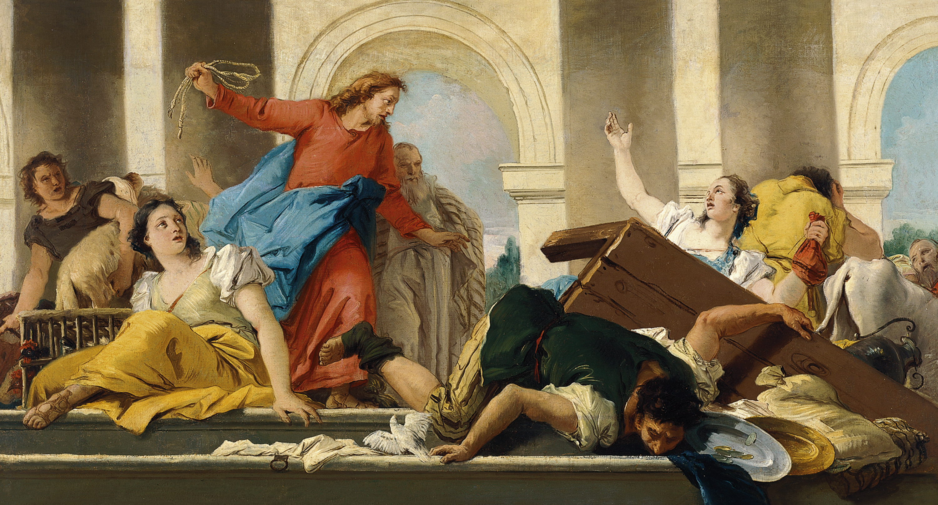 The Expulsion of the Money-changers from the Temple - Tiepolo,  Giandomenico. Museo Nacional Thyssen-Bornemisza