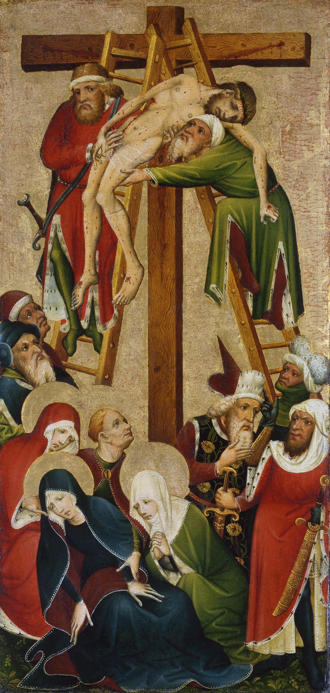 El Descendimiento De La Cruz Anverso Anónimo Alemán Activo En El Medio Rin C 1420 Museo Nacional Thyssen Bornemisza