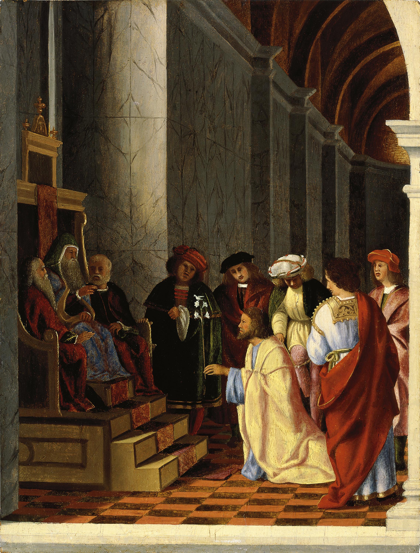 San José y los pretendientes de la Virgen - Lotto, Lorenzo. Museo ...