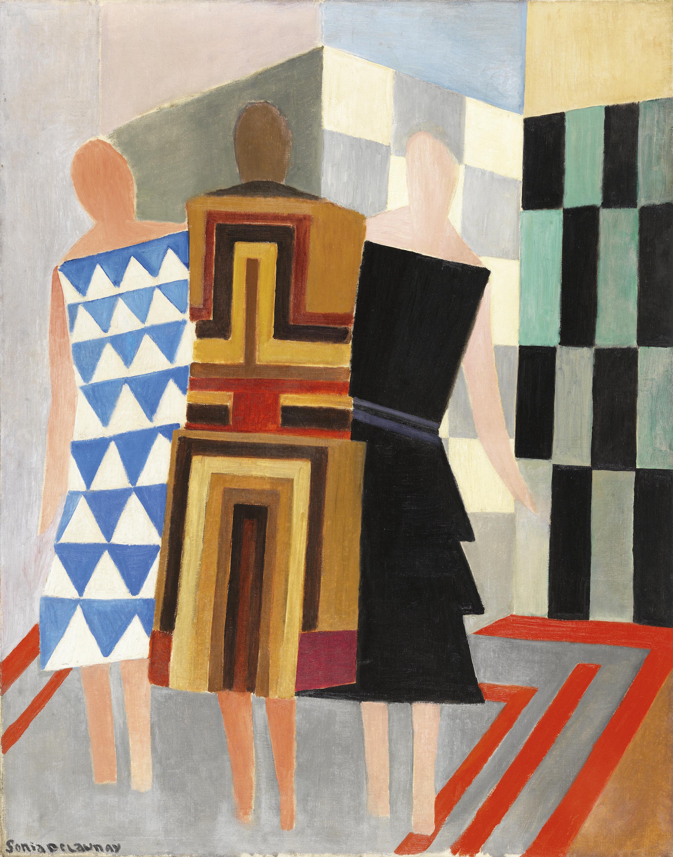 Vestidos simultáneos. (Tres mujeres, formas, colores) - Delaunay, Sonia.  Museo Nacional Thyssen-Bornemisza