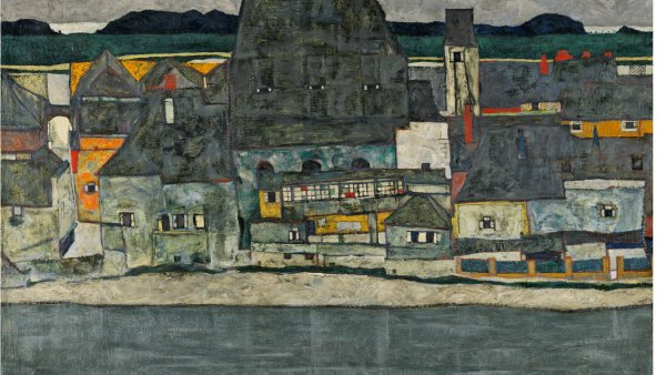 Egon Schiele, Houses on the River (The Old Town), 1914