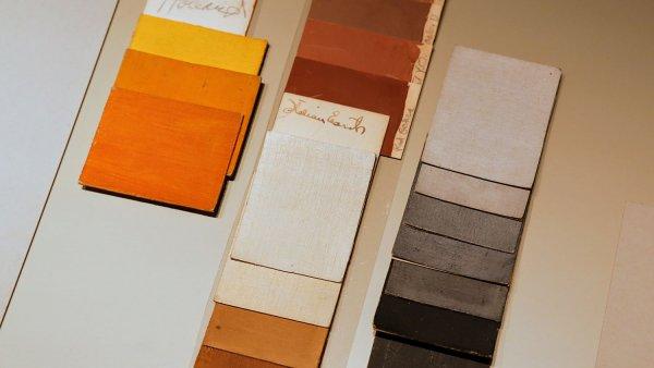Muestras de color: tonos de cadmio, tonos de negro a gris y tonos terrosos