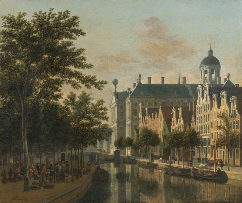 El Nieuwezijds Voorburgswal con el mercado de flores de Amsterdam