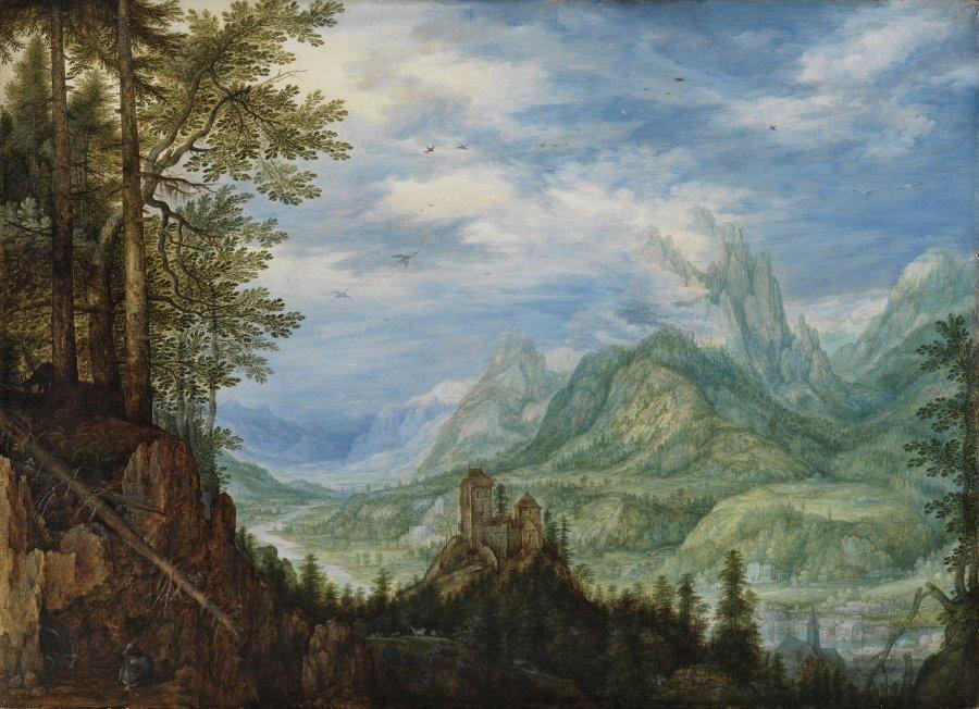 Paisaje montañoso con un castillo