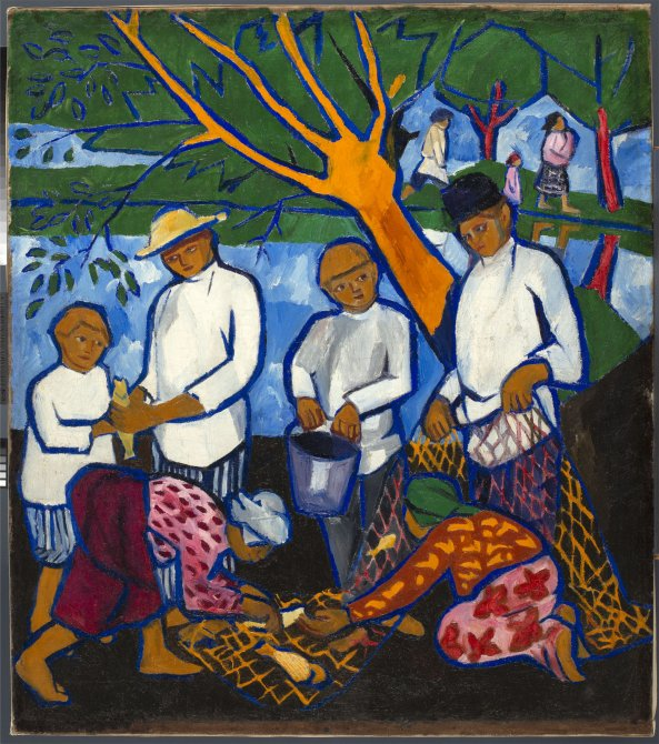 The restoration process of Natalia Goncharova's Fishing (Fishers)
