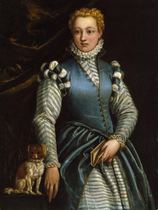 Retrato de una mujer con un perro