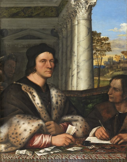 Portrait of Ferry Carondelet with his Secretaries. Retrato de Ferry Carondelet con sus secretarios, c.1510-1512