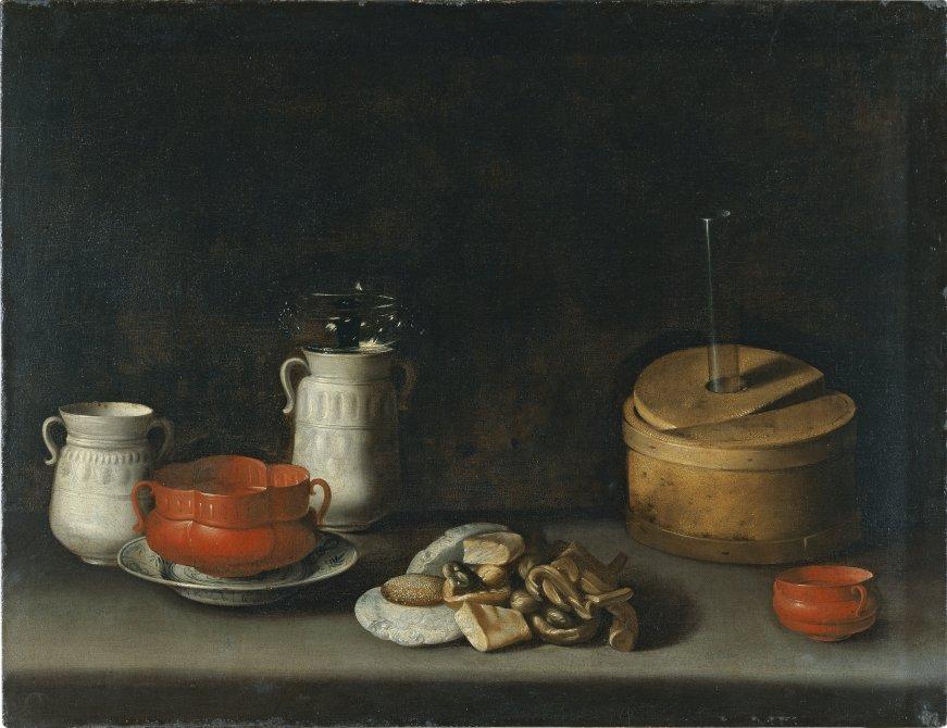 Bodegón con loza y dulces