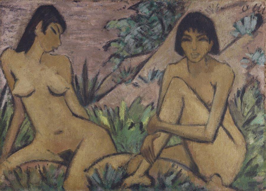 Dos desnudos femeninos en un paisaje
