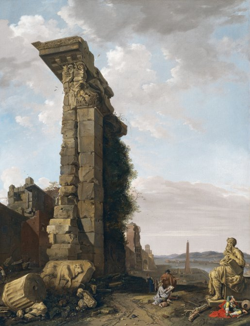 Capriccio with Roman Ruins, Sculptures and a Port