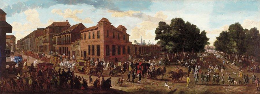 Vista de la Carrera de San Jerónimo y el Paseo del Prado con cortejo de carrozas