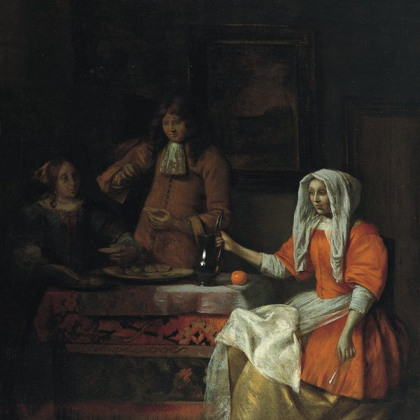 An Interior with Two Women and a Man Eating Oysters