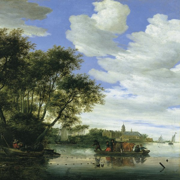A View of the River Vecht with a Ferry and Fishermen, and Nijenrode Castle in the Distance