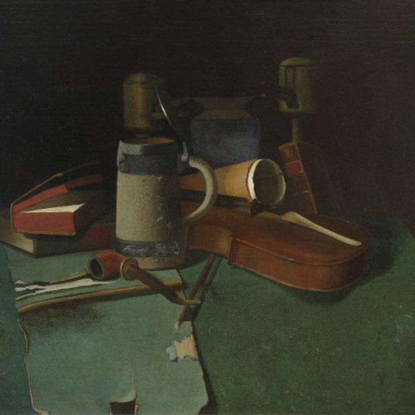 Libros, jarra, pipa y violín