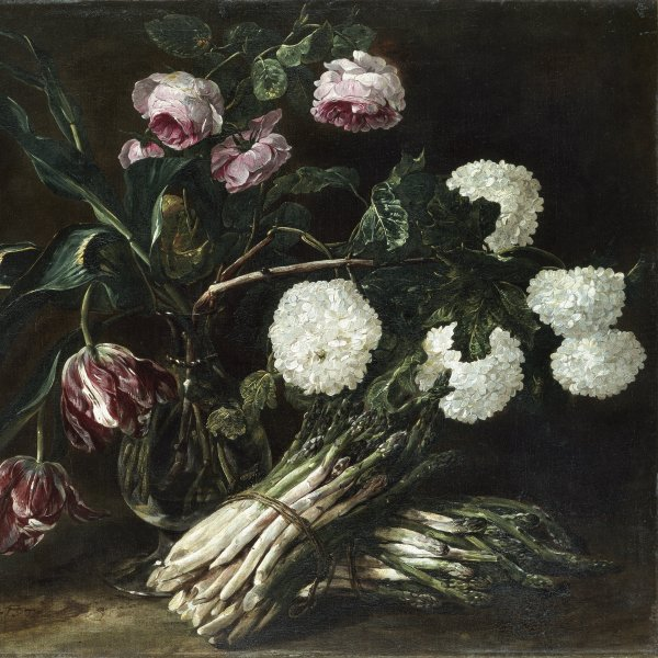 Vase of Flowers and Two Bunches of Asparagus