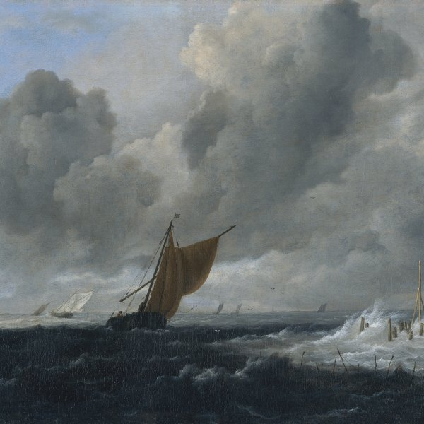 Stormy Sea with Sailing Vessels