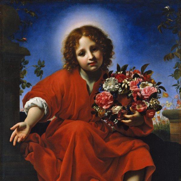 El Niño Jesús con una corona de flores