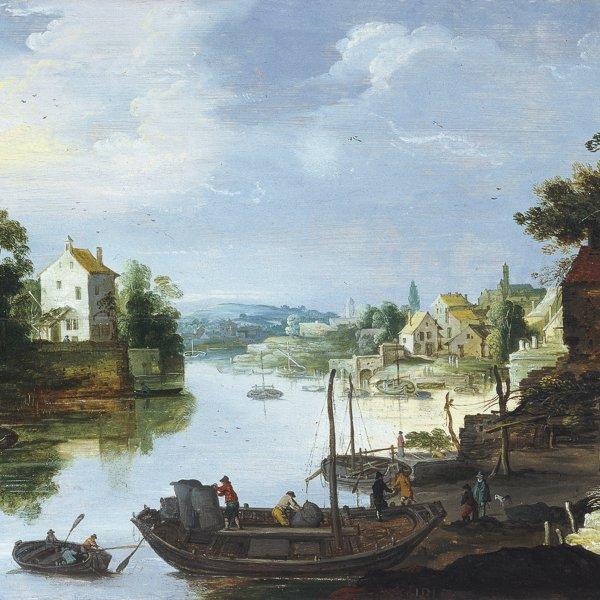 Vista de un pueblo a la orilla de un río