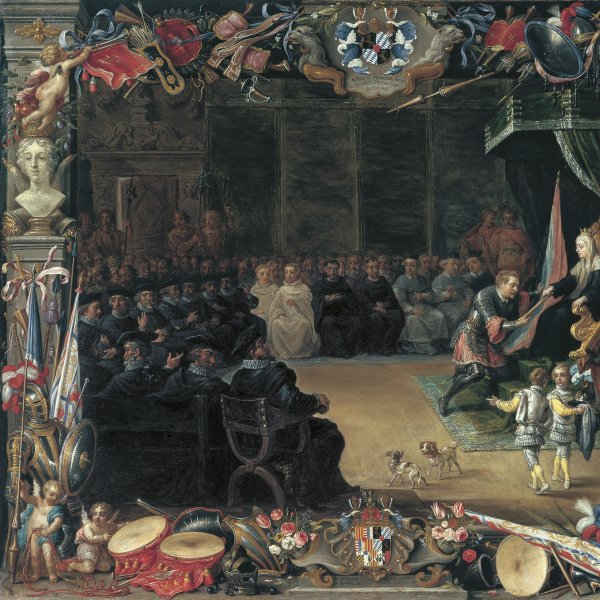 The Presentation of the Captain General's Baton to Antonio Moncada by the Queen Regent Blanca of Sicily in 1410