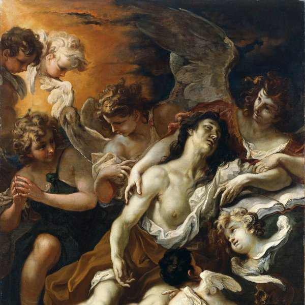 Mary Magdalen conforted by Angels