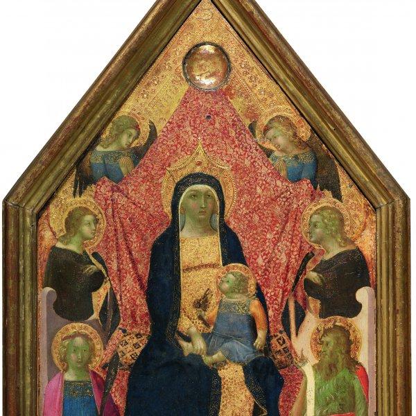 La Virgen y el Niño entronizados entre cuatro ángeles, una mártir y san Juan Bautista