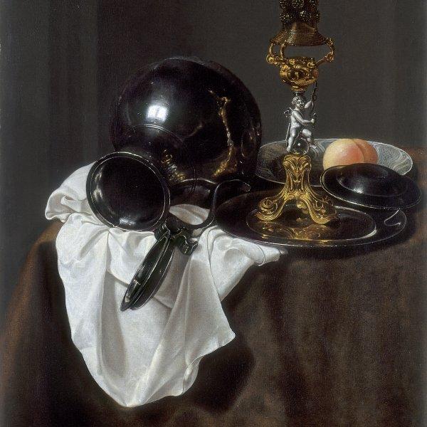 Bodegón con vaso de vino, jarra de peltre y otros objetos