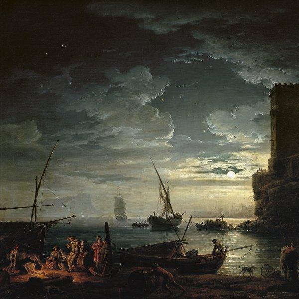 Noche: escena de la costa mediterránea con pescadores y barcas