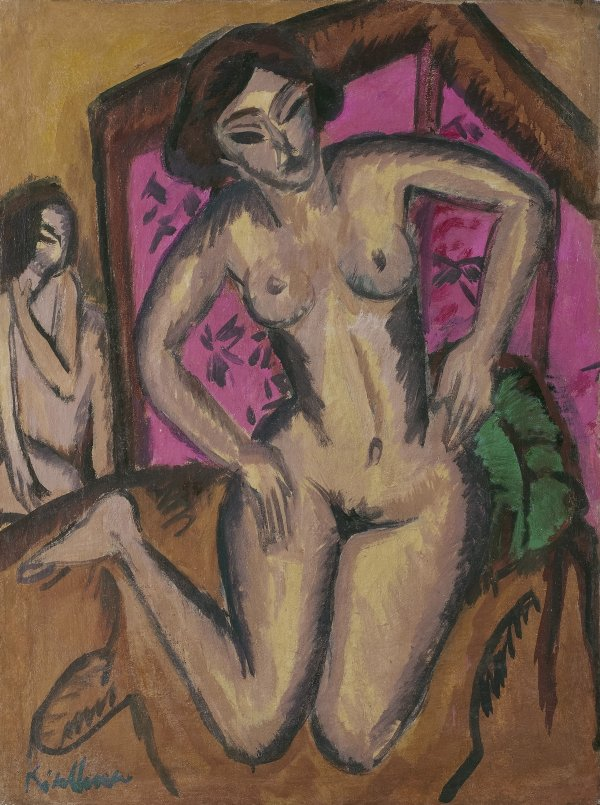 Kneeling Nude in front of Red Screen (verso: Seated Nude with Bent Leg). Ernst Ludwig Kirchner