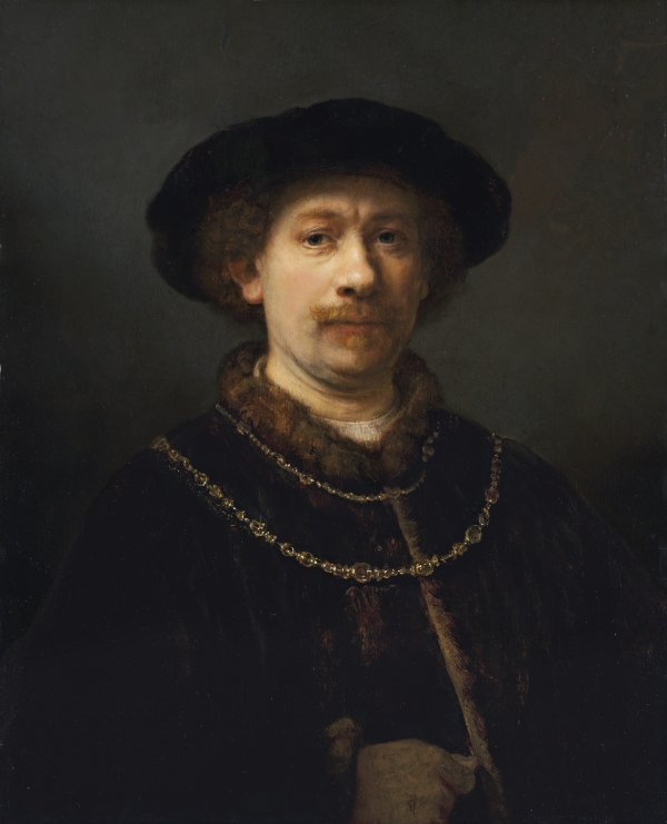 Self-portrait wearing a hat and two Chains. Autorretrato con gorra y dos cadenas, c. 1642-1643