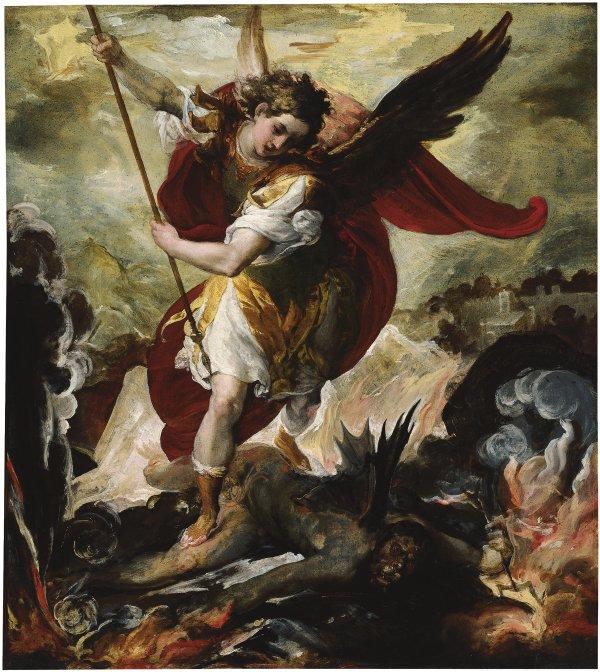 San Miguel arcángel venciendo a Lucifer - Maffei, Francesco. Museo Nacional  Thyssen-Bornemisza