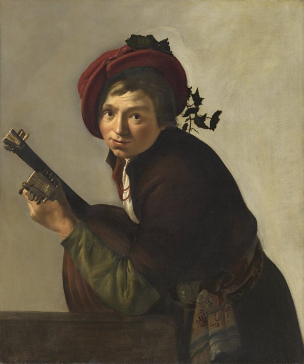 Young Man Playing a Theorbo. Joven tocando la tiorba, c. 1642-1645