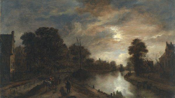 Claro de luna con un camino bordeando un canal, hacia 1645 - 1650